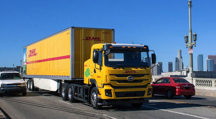 DHL Express will pilot four of these BYD battery-electric trucks in Los Angeles. - Photo: DHL