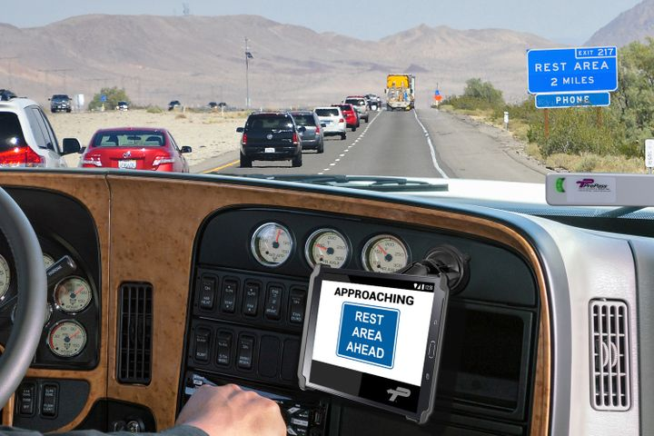 PrePass Alerts give the driver information in the cab as they approach high-risk areas. - Photo: PrePass Safety Alliance