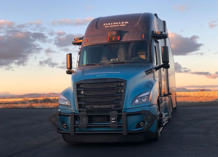A second-generation Freightliner Cascadia awaits nightfall at the company's Madras, Oregon, proving grounds. Note the sensor clusters on the front bumper and above the cab. - Photo: Jack Roberts