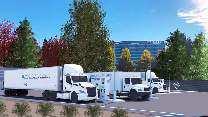 Electric Island is a new, technology showcase in Portland, OR, highlighting fast charging of electric commercial vehicles. - Photo: DTNA