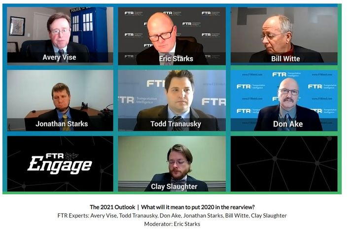 FTR experts outlined their expectations for freight transportation in 2021. - Screenshot of FTR virtual event