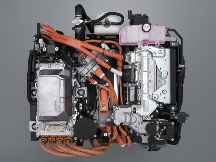 This overhead view shows Toyota's current hydrogen fuel cell technology for passenger cars. - Photo: Toyota
