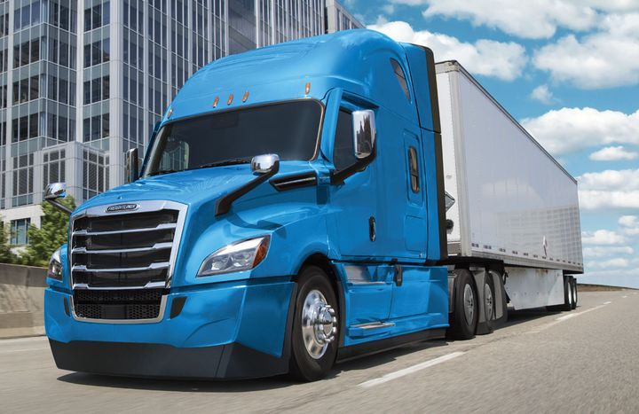 Low-ground-clearance aero packages on some Freightliner Cascadias may be contributing to overheating of certain Bridgestone steer tires. - Photo: Daimler Trucks North America