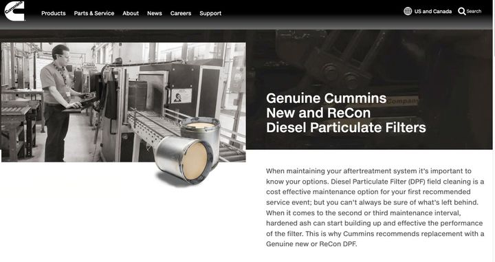 Although Cummins' website still lists ReCon remanufactured DPFs, HDT has learned it is discontinuing them. - Photo: Screen capture from Cummins' website