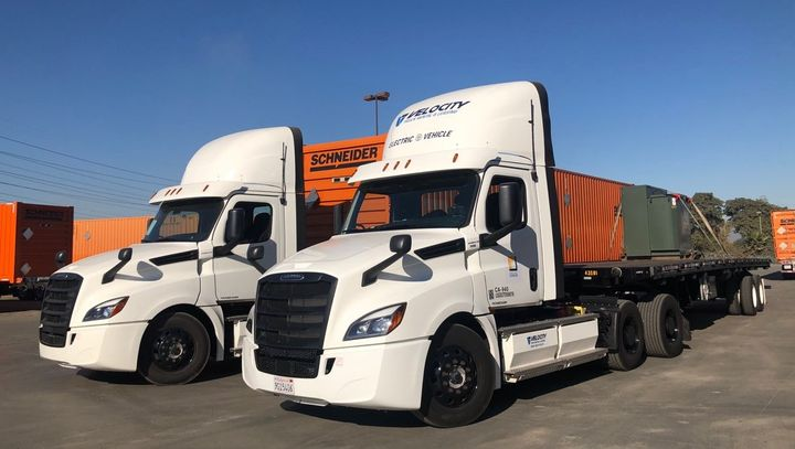 When delivering a transformer to be used in an electric-truck charging array at a Schneider terminal, using a battery-electric truck was a natural move for Southern California Edison. - Photo: DTNA