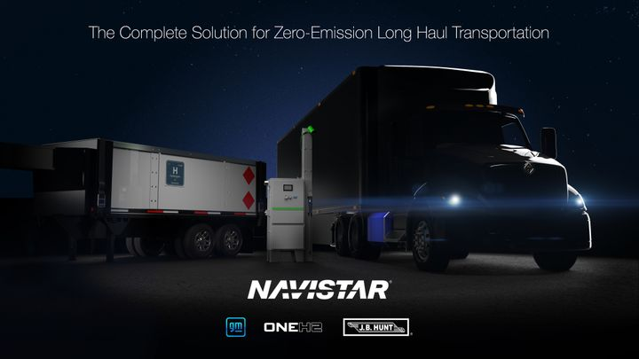 Navistar is working with GM, OneH2 and J.B. Hunt to develop the fuel-cell-electric International RH. - Photo: Navistar