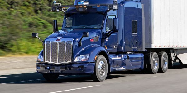 A Peterbilt Model 579 fitted with Aurora-developed autonomous guidance system during road tests.