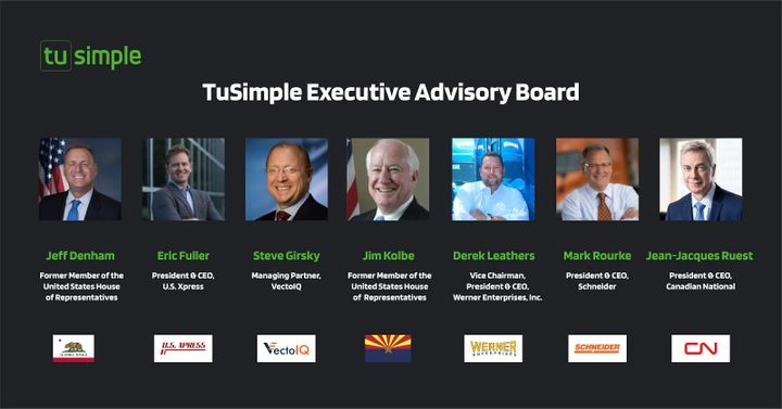 TuSimple has announced the members of its newly established Executive Advisory Board, whichwill guide the company on various business and legislative issues going forward. - Photo: TuSimple