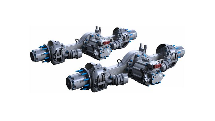The 14X drive axle has be repurposed as a fully integrated powertrain, with electric motors and a multi-speed transmission nested in the differential housing. - Photo: Meritor