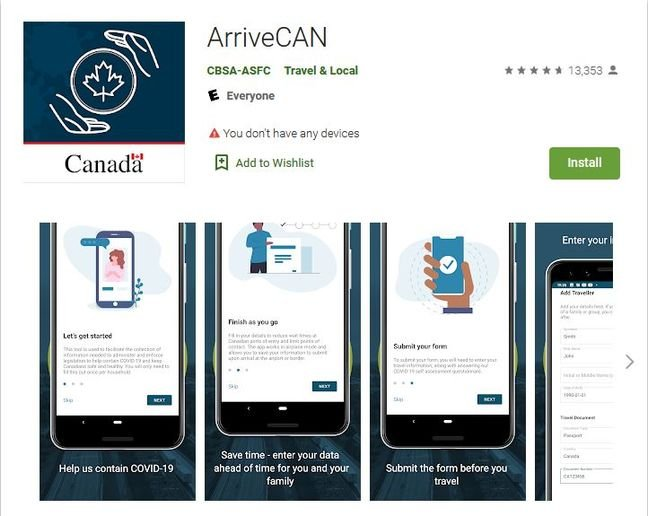 The ArriveCan app is part of Canada's efforts to reduce the spread of COVID-19. - Photo: Screen capture of ArriveCan app download