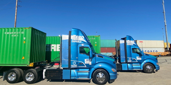 The two T680 day cab tractors are Kenworth's second-generation, range-extended electric trucks....