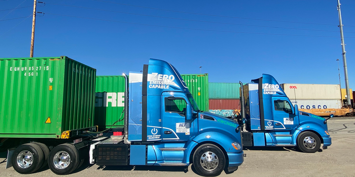 The two T680 day cab tractors are Kenworth's second-generation, range-extended electric trucks. They are able to run in zero emissions mode on batteries for 30 miles, and recharge those batteries while driving using a generator powered by a near-zero emissions natural gas engine. - Photo: Kenworth