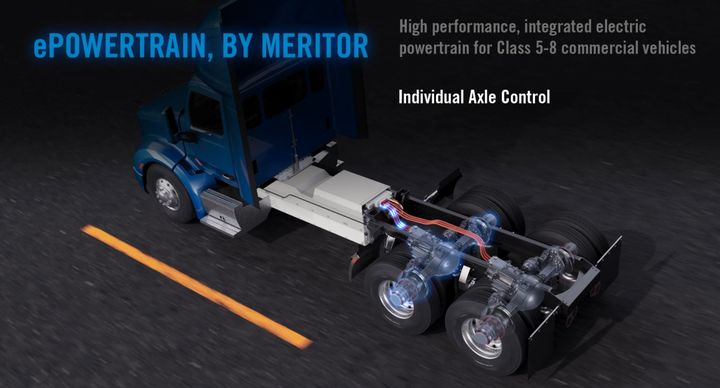 By integrating the drivetrain, Meritor say the chassis length can be reduced by up to 30 inches for weight savings and improved maneuverability. Batteries can also be located between the frame rails. - Photo: Screen Capture from media presentation