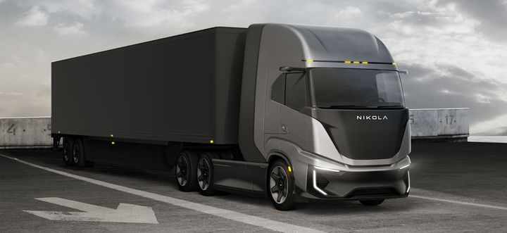 The Nikola Tre fuel-cell-electric cabover is targeted for regional hauls up to 500 miles. - Rendering: Nikola