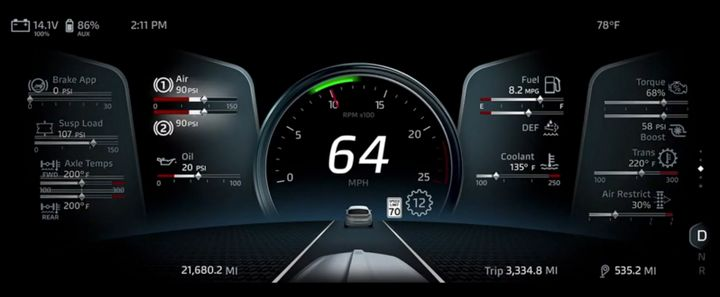 A new 15-inch driver display screen offers drivers a selection of different views. - Photo: Screen shot from Kenworth virtual reveal event