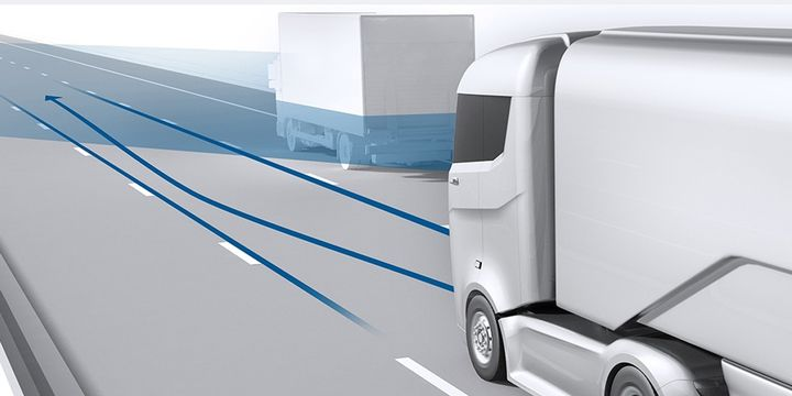 In Bosch's accident research, the company found that lateral actuator systems in Class 7 and 8 trucks can reduce the costs of accidents. - Illustration: Bosch