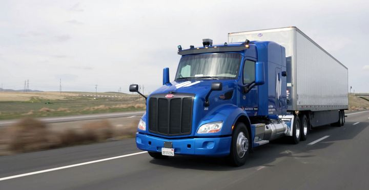 Embark is pursuing a middle-mile approach to automated trucking, operating only on limited access highways and short off-highway segments to distribution centers. But work zones are still a challenge. - Photo: Embark