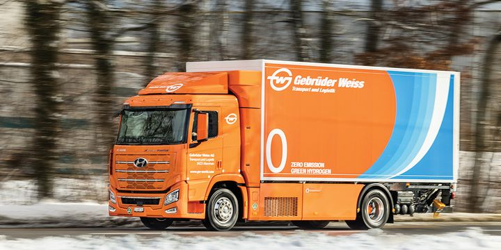 Gebrüder Weiss, a Swiss-based transport and logistics company, has added a Hyundai Xcient Fuel Cell truck to its fleet. - Photo:Gebrüder Weiss