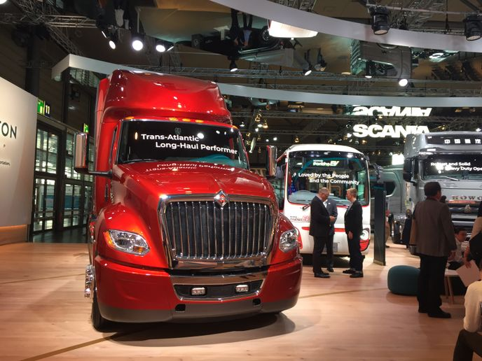 "In 2018, Navistar made an appearance in Traton's massive ""booth"" (it's an entire hall) at the IAA Commercial Vehicles Show in Hannover, Germany. - Photo: Deborah Lockridge"