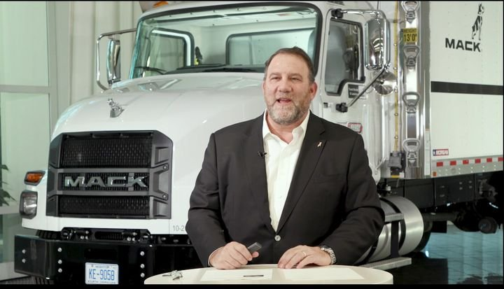 Jonathan Randall, Mack Trucks senior vice president of North American sales and commercial operations, gives a virtual press update. - Photo: Screen capture of virtual press conference