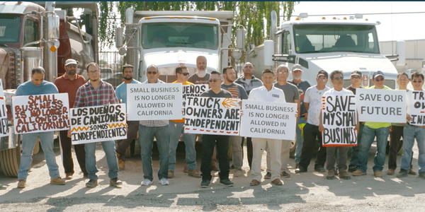 A 2019 protest against the then-new AB5 law in California, which severely restricts the use of...