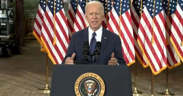 Of Biden's $2T infrastructure plan, he is proposing $174B would be for building electric vehicle charging infrastructure and $115B for repairing highways and bridges. - Screenshot: YouTube