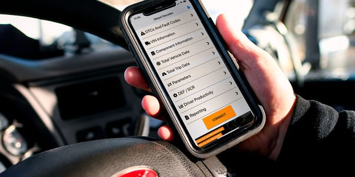 The Diesel Decoder plugs into the truck's diagnostics port and transmits detailed information to the user's smartphone. - Photo: Dorman