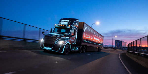 The Freightliner Class 8 eCascadia tractor has a maximum range of 250 miles on a full charge.