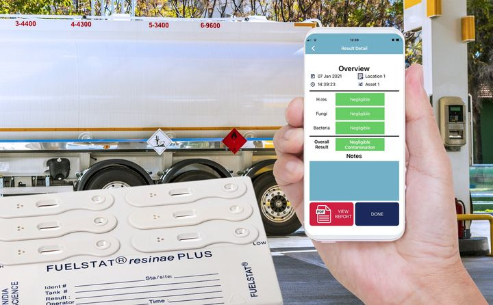 The Fuelstat Result mobile app allows users to verify fuel test results and create a report that can be immediately printed or emailed from the user's phone or tablet. - Photo:Conidia