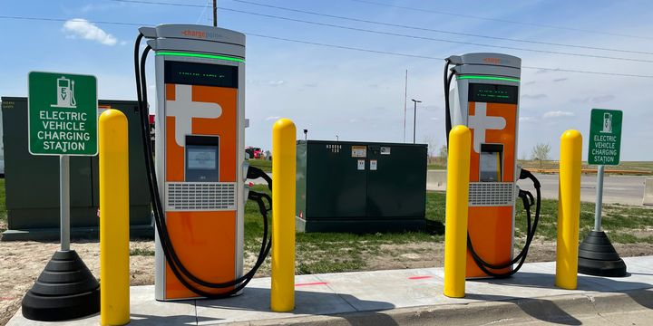 Iowa 80 Truckstop has installed two electric vehicle charging stations that can charge up to a 128 kw vehicle. - Photo: Iowa 80