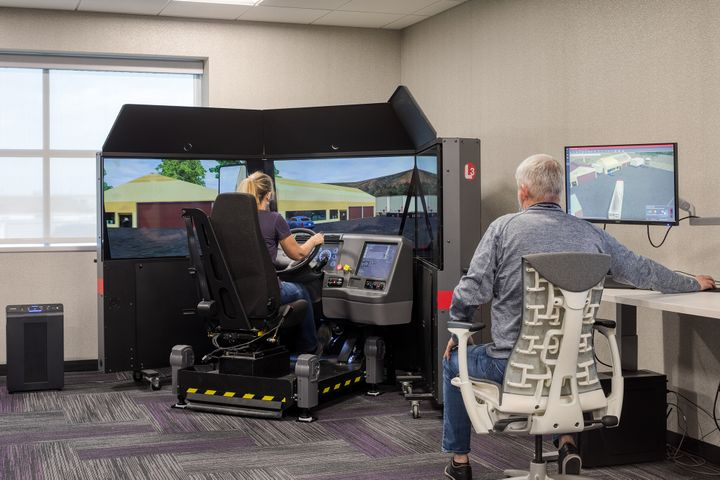 The new amenities building includes a truck driving simulator for students earning their Commercial Driver's License through Prime's official training program. - Photo: Prime