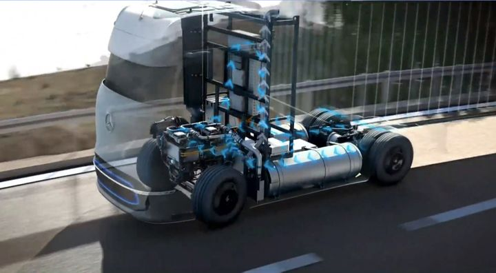 Daimler Trucks believes hydrogen-fuel-cell trucks are necessary for the future of long-haul zero-emissions freight transport. - Daimler Trucks Strategy Day presentation screenshot