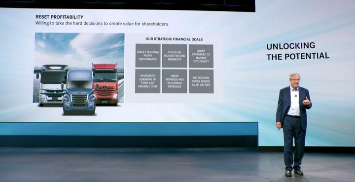 Martin Daum, head of the new Daimler Truck, talks about the company's strategy. - Photo: Daimler Truck Strategy Day screenshot