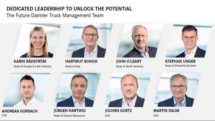 Daimler Truck's new leadership. - Photo: Daimler Truck Strategy Day presentation