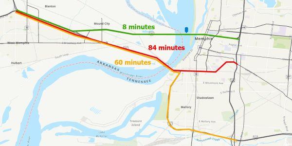 The closure of the I-40 bridge creates bottlenecks and delays impacting 26,500 trucks relying on...