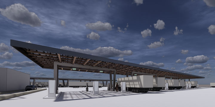 The 110-acre truck stop, positioned near logistics fulfillment centers run by Amazon and Walmart in Bakersfield, California, will feature a solar micro-grid with battery storage, plus grid energy from PG&E. - Rendering: WattEV