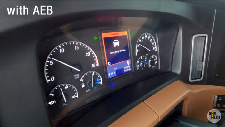 Automatic emergency braking kicked in when the driver did not respond to forward collision avoidance warnings in this IIHS test. - Screen shot from video of IIHS AEB testing