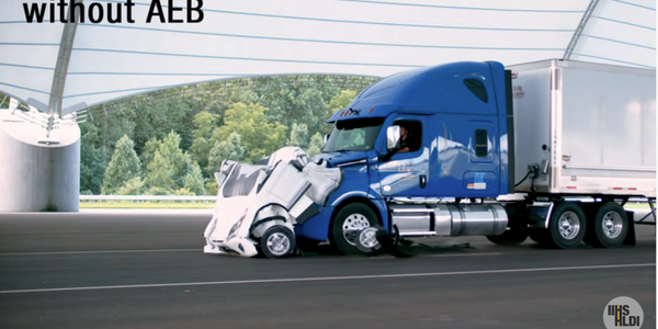 In an Insurance Institute for Highway Safety test of automatic emergency braking, a truck...