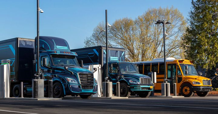 Class 8 day cabs, medium-duty delivery trucks, and school buses are among the applications ACT Research sees as a good fit for electrification. - Photo: Daimler Trucks North America