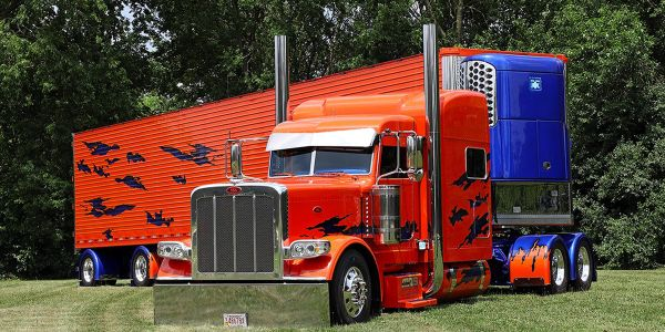 Shown, 2016 Peterbilt 389 of Brian Dreher who won Best of Show at the virtual SuperRigs contest...