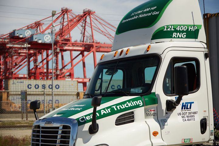 Companies such as TTSI, one of largest drayage trucking companies at the Southern California ports, started using Cummins ISX12 G low NOx natural gas engines several years ago. - Photo: California NGV Coalition