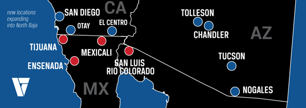 The expansion will enable Velocity to offer coverage to customers throughout the Northern Baja Mexico region and the Southeast United States. - Graphic: Velocity