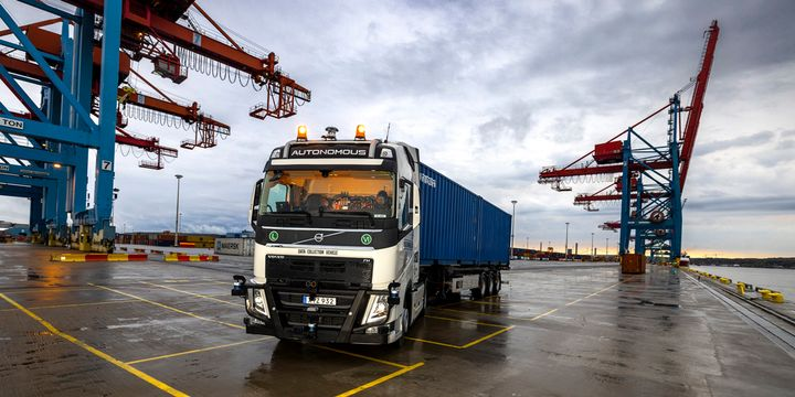 Volvo is collecting data with a sensor-equipped truck in the port area of Gothenburg, Sweden. The data collection is the company's first phase towards creating an automated and connected system for a continuous flow of goods. - Photo: Volvo