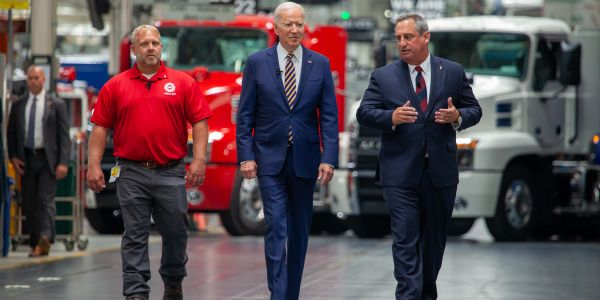 Mack Trucks hosted President Joe Biden at its Lehigh Valley Operations facility in Macungie,...