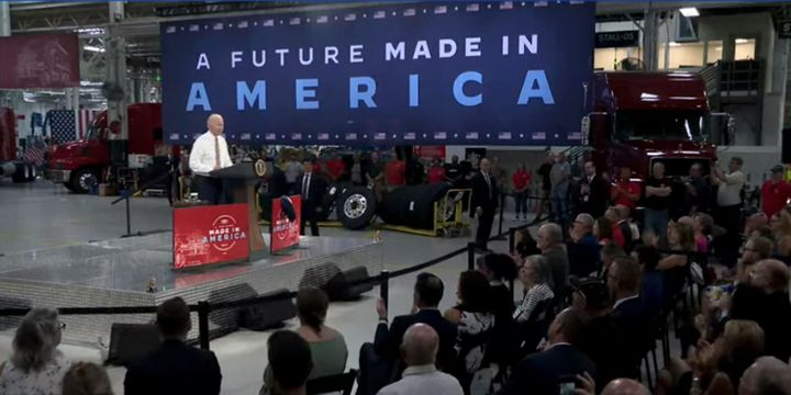 Following a tour of the Mack Trucks Lehigh Valley assembly plant in Pennsylvania, President Biden emphasizes American-made manufacturing to secure critical supply chains. - Screenshot: YouTube