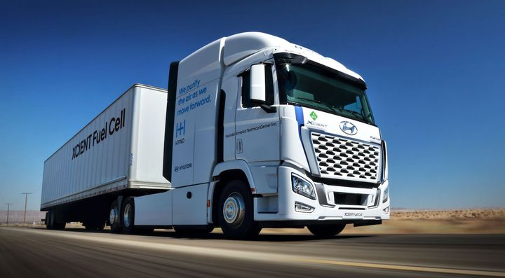 Hyundai says the U.S. version of its Xcient Fuel Cell Class 8 truck has a maximum driving range of 500 miles. - Photo: Hyundai