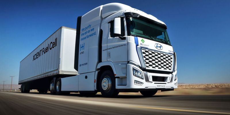 Hyundai says the U.S. version of its Xcient Fuel Cell Class 8 truck has a maximum driving range...