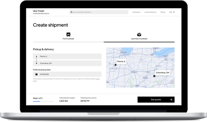 Uber Freight will now offer shippers the ability to book both truckload and less-than-truckload freight through its platform. - Photo: Uber Freight
