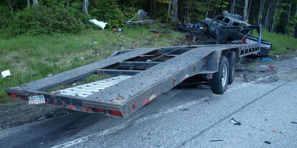 This pickup truck and trailer crashed into a group of 15 motorcycles. The truck driver had a...