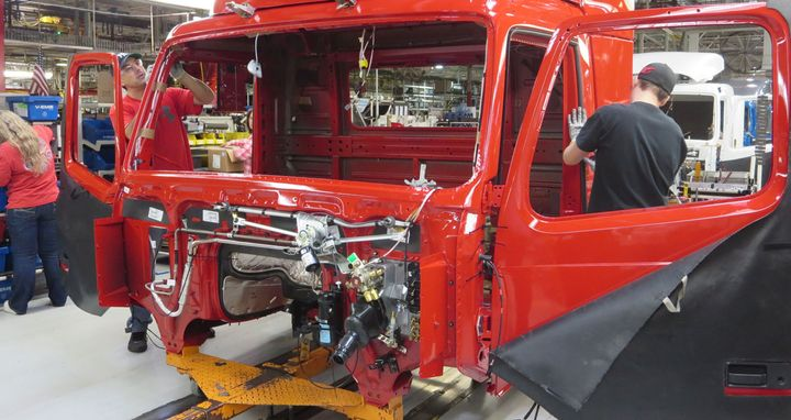Workers assemble Volvo trucks at the New River Valley plant in this 2015 HDT file photo. - Photo: Deborah Lockridge